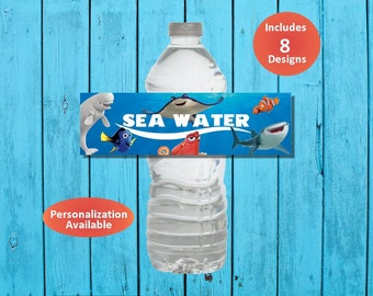 SEA WATER Printable Finding Dory & Nemo Inspired Water Bottle Labels - Instant Download