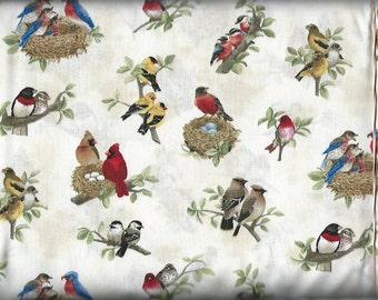 Birds in a nest, Elizabeth Studio Fabric
