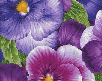 Pansy Fabric with Viola pansy ,purples/pinks large.print goes with border print quilting fabric.