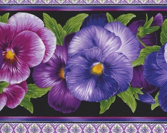 Pansy Fabric with Viola pansy border,purples/pinks timeless treasures.