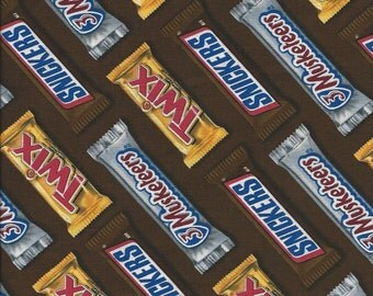Candy Bars on Brown Twix Snickers Musketeers Quilt Fabric Springs 42178.