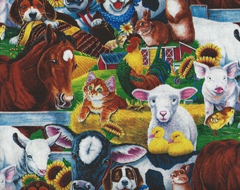 Horse, Cow,Rooster, Pig, Sheep, Cat, Dog, Farm Animals Quilting Fabric.
