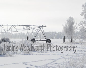 Farm Pivot Photograph In Snow and Frost
