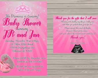 Baby Shower Invite and TY card - Princess Theme