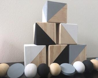 Monochrome stacking block set of 6 4.5cm