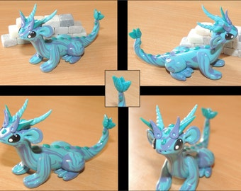Blue and purple dragon in Polymer Clay figurine