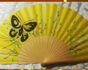 Customizable silk fan. SUN GOLD