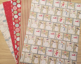 Christmas Cardstock - 5 Sheets of Premium Cardstock - Junk Journals, Scrapbooking, Card Making, Tags, Calendars, Smash Books, Mixed Media