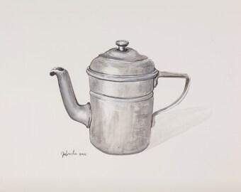 Watercolor print by me made, kitchen antiques, milk pot, teapot