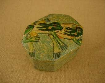 Wood and Paper Mache Trinket Box