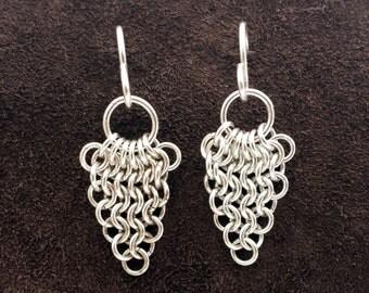 European Leaf Chainmail Earrings - Sterling Silver