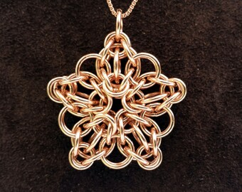 "Celtic Star Chainmail Pendant - 14kt Rose Gold Fill with 18"" Chain"