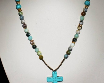 Turquoise Cross with Jasper