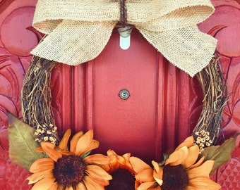 SALE Autumn/Fall Wreath Sunflowers and Burlap
