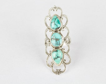 Turquoise Ring, Long Ring, Statement Ring, 925 Sterling Silver Handmade Natural Turquoise Ring