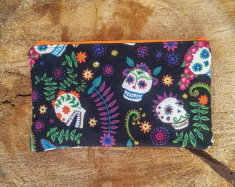 Sugar Skull Ladies Zipper Pouch/Cell Phone Pouch/Clutch