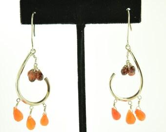 Garnet and Carnelian gemstone in sterling silver earrings