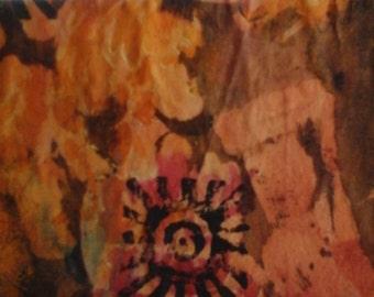 Small painting, abstract expresionism, mixed medium, paper art, wall art, grey,yellow, gold