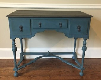 SOLD-Hand Painted Shabby Chic Vintage Console Table- local pick up/delivery only