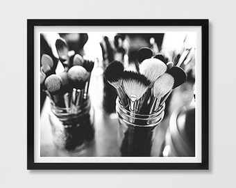 Makeup Brushes Print, Vanity Decor, Fashion Printable, Fashion Art Print, Makeup Photograph, Makeup Poster, Fashion Photo Print, Black White
