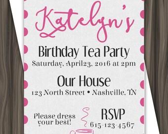 Birthday Tea Party Invitation - 5x7 - DIGITAL DOWNLOAD