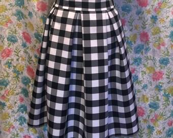 Gingham Black Pleated Skirt