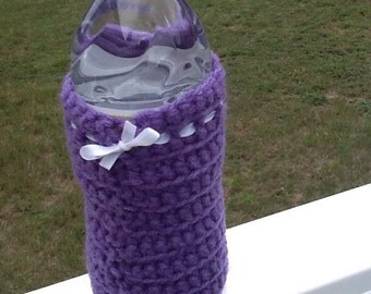 Purple crocheted drink cozy
