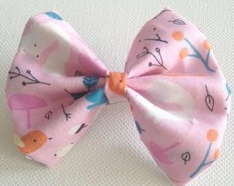 Organic Pink Forest Friends Bow // fox // squirrel // bird // woodland // folk