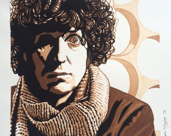 Limited edition Art Print of Tom Baker (Dr Who) from the original watercolour/gouache painting by Chris Naylor