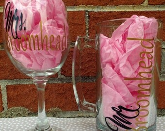 Personalized Mr. & Mrs. Wine Glass/Beer Mug Set