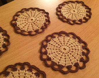 Crocheted Doilies set, 6 coasters