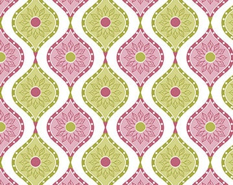 Pink and Green Fabric Sunflowers Soul Blossom by Cherry Guidry for Benartex Quilting Cotton Fabric, 1/2 Yard Increments