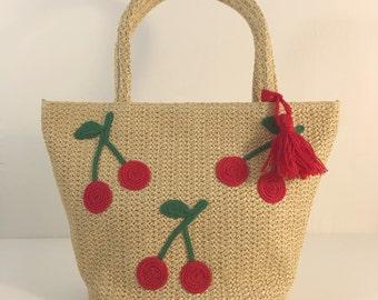 Cherry summer beach bag