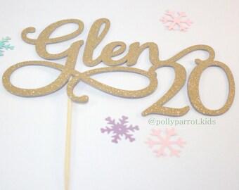 Gold Glitter cake topper
