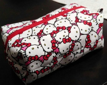 Red & White Hello Kitty Zippered Pouch Bag