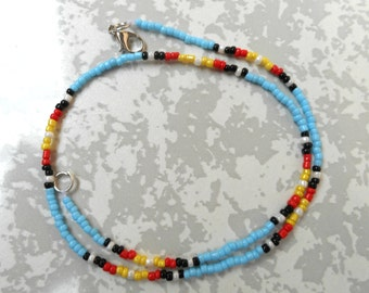 Tribal beaded Choker Necklace, Beaded Choker, Seed Bead Choker, Turquoise Beaded Choker Necklace, Turquoise Seed Bead Choker.