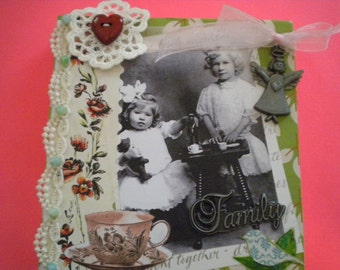 SISTERS mixed media  vintage  original  handcrafted collage