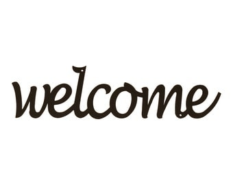 Welcome Wall Sign, Metal Welcome Signs, Welcome Metal Sign, Black Welcome Sign, Black Metal Welcome Sign, Wall Welcome Sign, Metal Wall Word