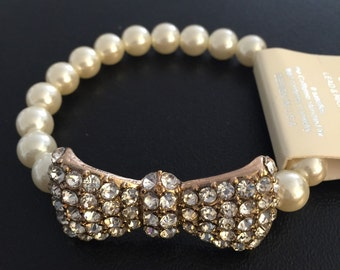 Crystal bow pearl bracelet