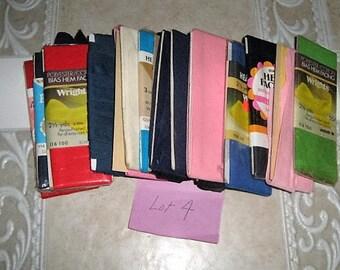 Vintage Cotton Wide Bias Hem Facing Lot Of 15 Packages Assorted Colors