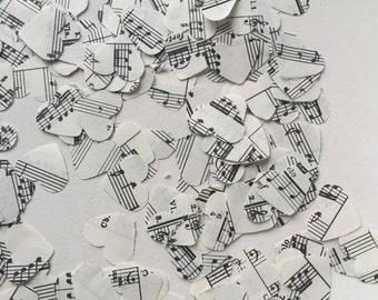 300 Music Script Paper Heart Confetti