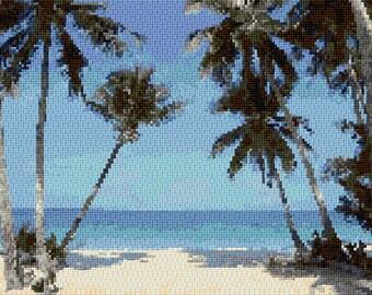 Palm Trees Black and White Cross Stitch Chart