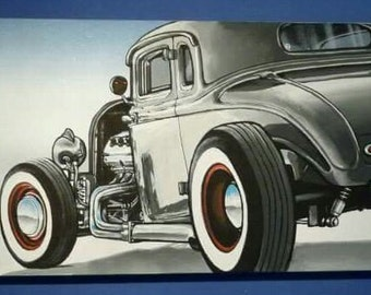 "Acrylic painting ""Into the fog"" hotrod automotive artwork"