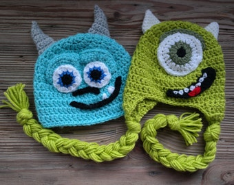 Mike and Sully from Disney's Monster's Inc Crochet Baby Hats