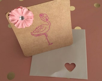 flamingo mini gift tag card,homemade card cute,flamingo flower card