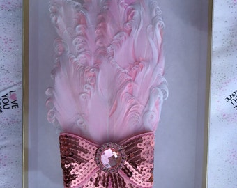 Baby Toddler Child Pink Bow feathered headband