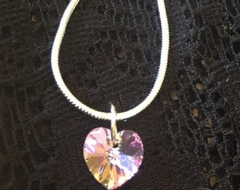 Swarovski crystal heart pendant, Ab purple shimmer beautiful. Charm necklace gift idea