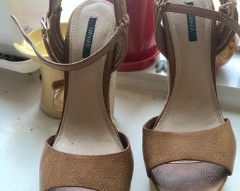 Tan Platform Wedge Sandle Heels