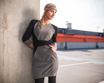 Polygon dress black - geometric dress, sweater dress, dress with front pocket, comfortable dress, figure-hugging