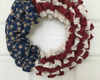 Burlap Flag Wreath, Red, White, Blue, Wreath, Memorial Day Wreath, Fourth of July Wreath, American Flag Wreath